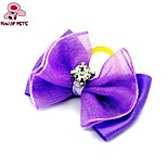 FUN OF PETS® Elegant Ribbon Style Flower Pattern Rhinestone Decorated Rubber Band Hair Bow for Pet Dogs  (Random Color)