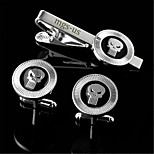 Personalized Gift Men's Engravable Silver Plain Pattern Cufflinks and Tie Bar Clip Clasp(1 Set)