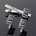 Personalized Gift Men's Engravable Silver Plain Cell Phone Pattern Cufflinks and Tie Bar Clip Clasp(1 Set)
