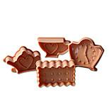 4pcs théière&horloge gâteau de motif et de coupeur de biscuit moule