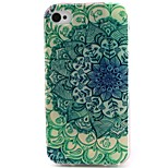 Green Flowers Pattern TPU Material Soft Phone Case for iPhone 4/4S