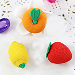 Cartoon Fruit Strawberry Lemon Orange Assemble Rubber Eraser (Random Color)