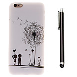 Under the Dandelion of Lovers Pattern TPU Soft Back and A Stylus Touch Pen for iPhone 6