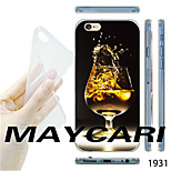 Wine Glasses Pattern Transparent TPU Soft Back Case for iPhone 6