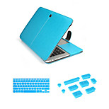 Business Leather Hasp bag with Keyboard Cover Flim and Silicone Dust Plug for Macbook Retina 15.4