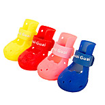 Red/Green/Pink/Yellow Waterproof Mixed Material Shoes For Dogs