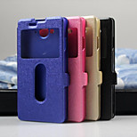 Luxury Flip Leather Case with Double Smart View Window Mobile Phone Cover Case for zte V5(Assorted Color)