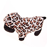 White/Brown/Gray Leopard Grain Corduroy Hoodies For Dogs