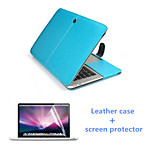 Hot Selling Luxury Leather Flip Magnet Full Body Case and HD Screen Protector for Macbook Pro 13.3