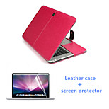 Luxury Leather Magnet Full Body Case and HD Screen Protector for Macbook Retina 15.4