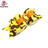 FUN OF PETS® Lovely Ribbon Style Leopard Pattern Rhinestone Decorated Rubber Band Hair Bow for Pet Dogs