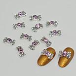 10pcs Pink Diamond Bow Tie Nail Art Decoration