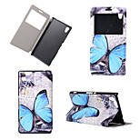 Butterfly Pattern View Winodw Leather Wallet Flip Cover Case for Sony Xperia M4 Aqua/Sony Xperia C4