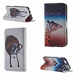 Cute Giraffe and Cat Double Side Pattern Leather PU Cover Case with Stand for iPhone 6G