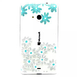 Blue Flowers Pattern TPU Painted Soft Back Cover for Nokia  Lumia 535/Lumia 435