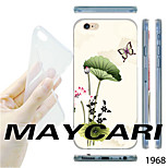 MAYCARI®Lotus Flower Butterfly Pattern TPU Soft Transparent Back Case for iPhone 6