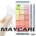 MAYCARI®Gradient Color Square Pattern TPU Soft Transparent Back Case for iPhone 6