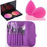 HOT SALE 7Pcs/set Purple Soft Kit Makeup Brush Tool+4 Colors Contour Face Powder Blush Makeup Palette + Powder Puff