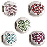 Diy Beads Metal/Rhinestone Heart Shape Large Hole Beads 5Pcs