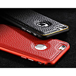 Ultrathin Genuine Leather Metal Frame Luxury Retro Back Case for iPhone 6 Plus