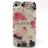 bloemen patroon TPU materiaal soft phone case voor de iPhone 4 / 4s
