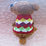 Holdhoney Red And Other Colors With Grid Acrylic Sweater For Pets Dogs (Assorted Sizes) #LT15050170