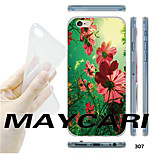 MAYCARI®Red Flowers Pattern TPU Soft Transparent Back Case for iPhone 6