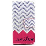 Wave Smile Pattern PU Leather Painted Phone Case For iPhone 5/5S