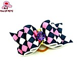 FUN OF PETS® ELovely Ribbon Style Stripe Pattern Bead Decorated Rubber Band Hair Bow for Pet Dogs  (Random Color)