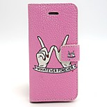 Finger Pattern PU Leather Full Body Case with Card Slot and Stand for iPhone 5/5S