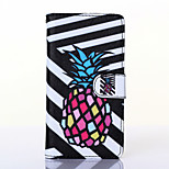 Black and White Pineapple Pattern PU Leather Full Body Case with Stand for Wiko Rainbow