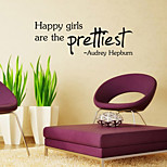 Wall Stickers Wall Decals Style Happy Gilrs English Words & Quotes PVC Wall Stickers