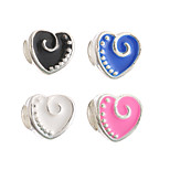 Diy Beads Metal Candy Color Heart Shape Large Hole Beads 5Pcs