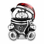 Santa Claus Bear silver beads for bracelet and necklace