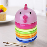 Chicken Shaped Toothpick Holder Rainbow Color Toss Circle  with Lid