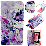 Purple Flower Pattern with Card Bag Full Body Case for iPhone 6