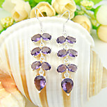 Thanksgiving Gift Fire Full Amethyst Gem .925 Silver Drop Leaf Earrings For Wedding Party Daily Holiday 1Pairs