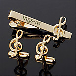 Personalized Gift Men's Engravable Golden Music Note Treble Clef Pattern Cufflinks and Tie Bar Clip Clasp(1 Set)