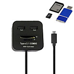 Cwxuan™ Multi Function USB3.1 Type-C to USB 2.0 2 Port Hub + SD / TF Card Reader