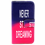 Never stop Pattern PU Leather Case with Magnetic Snap and Card Slot for iPhone 5/5S