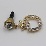 Fashion Alloy Gold Apple With Crystal Pendant Dust Plug General Type