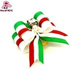 FUN OF PETS®Lovely Chirstmas Series Ribbon Style Rhinestone Decorated Rubber Band Hair Bow for Pet Dogs  (Random Color)