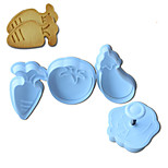 4PCS Vegetable Pattern Cake and Cookie Cutter Mold with Plunger