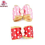 FUN OF PETS® Lovely  Ribbon Style Spot Pattern Bead Decorated Rubber Band Hair Bow for Pet Dogs(Random Colour)
