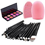 Pro 20pcs Brushes Set Foundation Eyeshadow Eyeliner Lip Brush Tool+10Colors Blush Palette+1PCS Brush Cleaning Tool