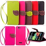 5 Inch Leaf Pattern PU Wallet Leather Case for Wiko rainbow(Assorted Colors)