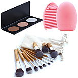 11pcs Makeup Cosmetic Eyebrow Foundation Kabuki Brushes Kits+3 Colors Face Powder Makeup Palette+Brush Cleaning Tool
