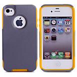 pc de lujo suave + TPU de doble capa de cocodrilo fresco caja de la piel de cuero a prueba de golpes funda delgada para el iphone 4 / 4s