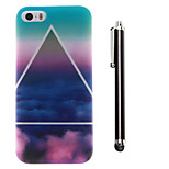Triangular Clouds Pattern TPU Soft Back and A Stylus Touch Pen for iPhone 5/5S