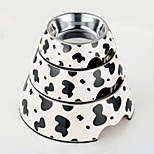 High Quality Cow  Print Melamine Bowl with Stainless Steel Dish for Cat and Dogs (Assorted Sizes)